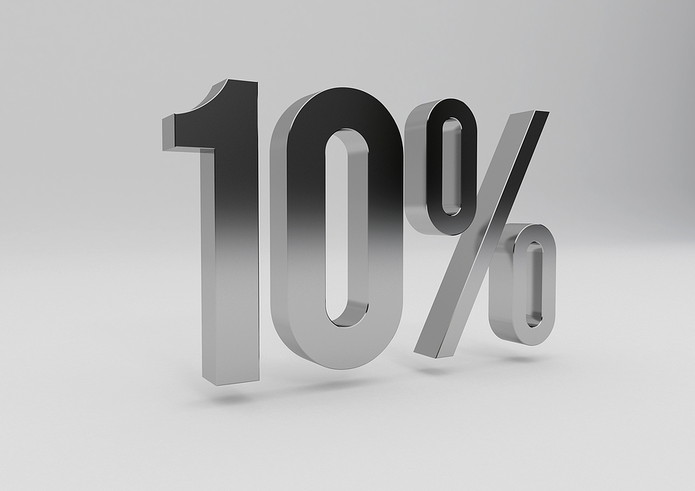10 Percent in Silver 3D Lettering