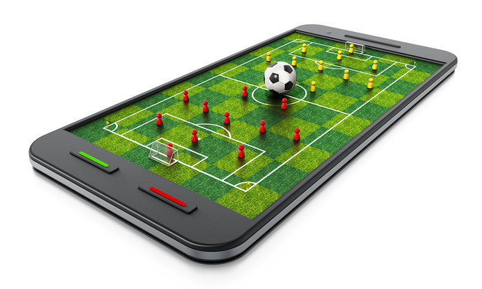 3D Football Pitch on Mobile Phone