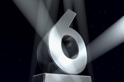 3D Number Six on Pedestal
