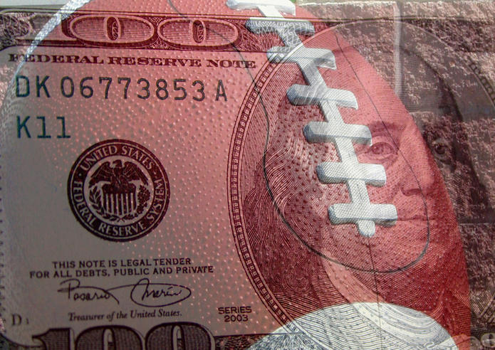 American Football and 100 Dollar Bill Double Exposed