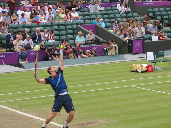 Andy Murray Serving at the 2012 Olympics