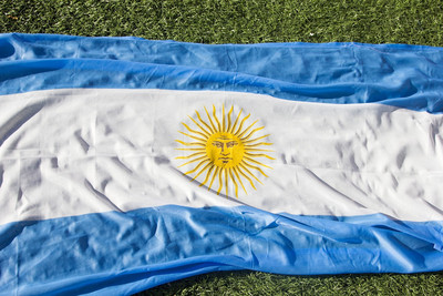 Argentina Flag on Football Pitch