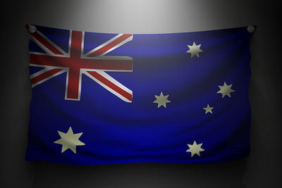Australia Flag Under Spotlight