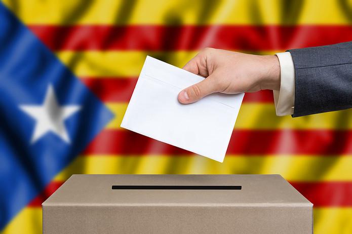 Ballot Box Against Catalan Flag