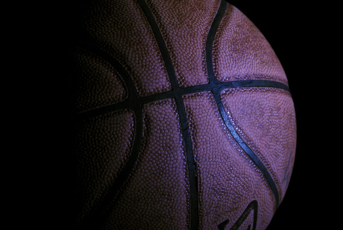 Basketball Against Dark Background