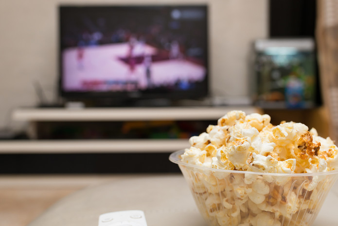 Basketball on TV and Popcorn