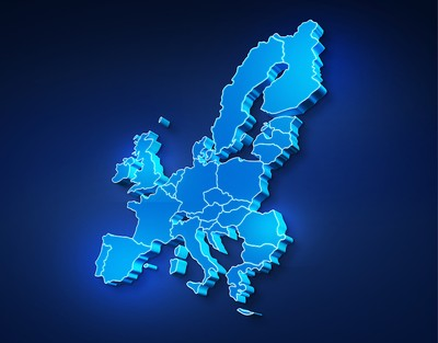 Blue 3D Map of Europe
