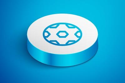 Blue Football Icon Button