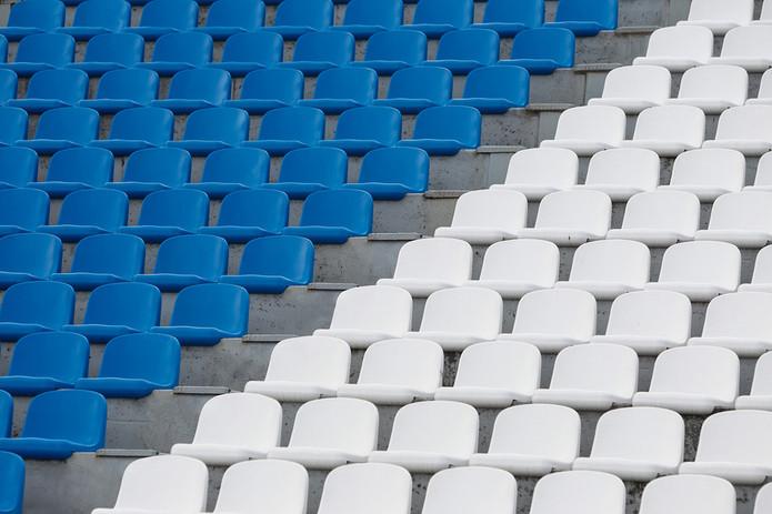 Blue and White Stadium Seats