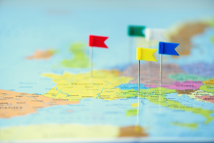 Blurred Map of Europe with Coloured Flags