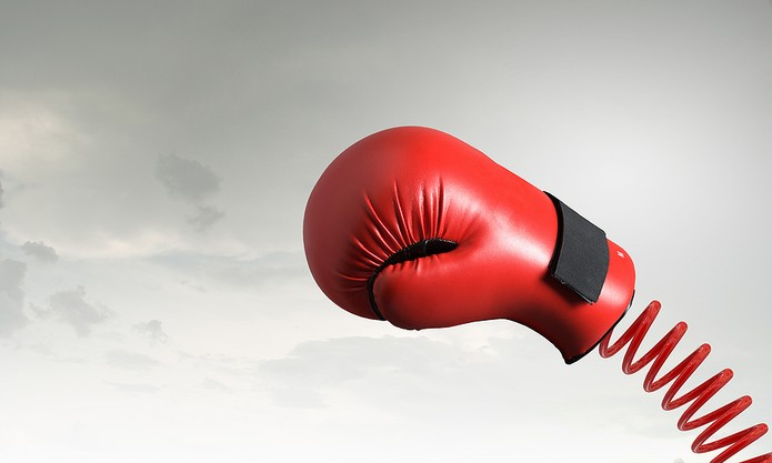 Boxing Glove on Red Spring