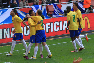 Brazil Football Team Celebrating with Neymar