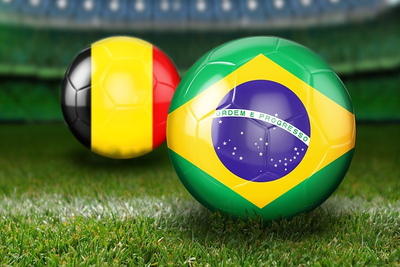 Brazil and Belgium Football Flags