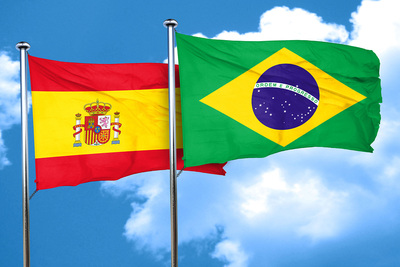 Spanish and Brazilian Flags