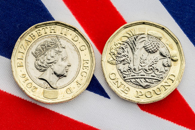British Pound Coins on Union Jack