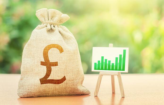 British Pound Money Bag and Chart