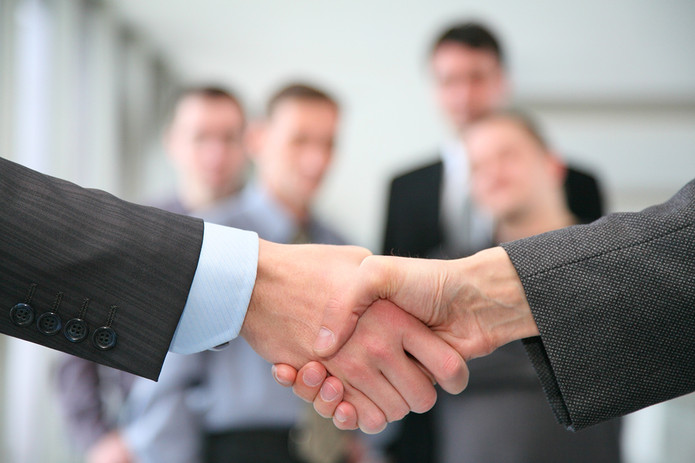 Business Handshake with Blurred Colleagues in Background