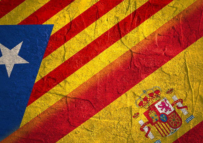 Catalan And Spanish Flags in Stone