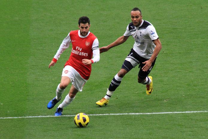 Cesc Fabregas and Younes Kaboul