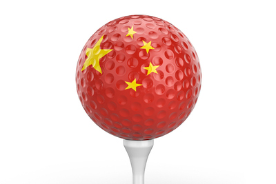 China Flag on Golf Ball
