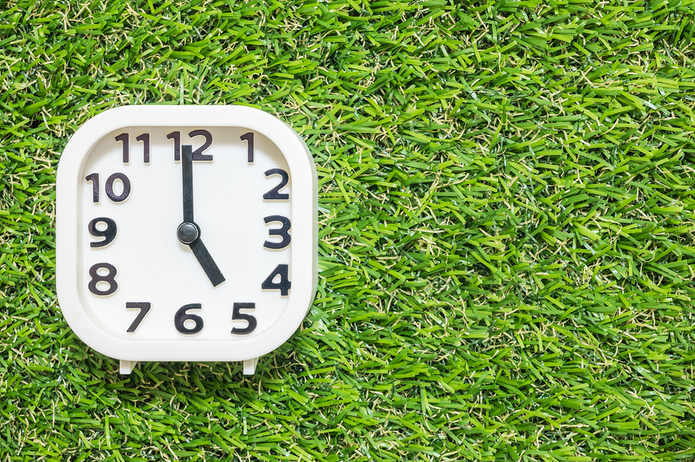 Clock on Grass Showing 5 O'Clock