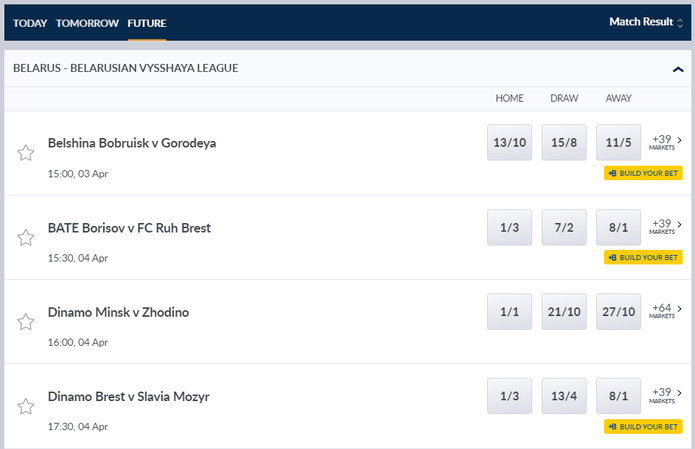 Coral Belarusian Football Betting