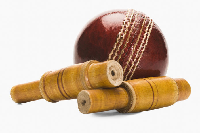 Cricket Ball and Bails Close Up