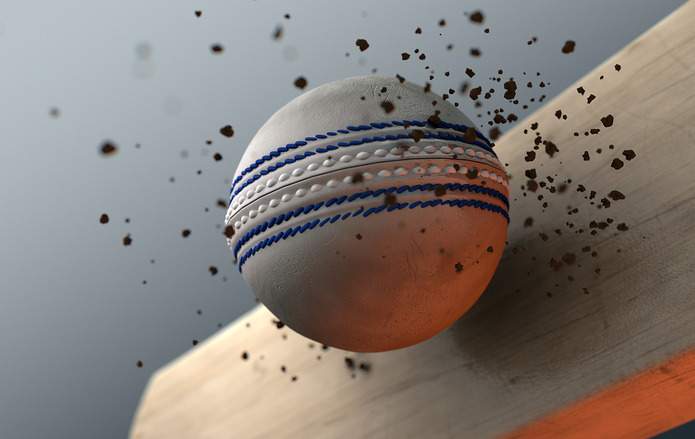 Cricket Bat Striking Ball
