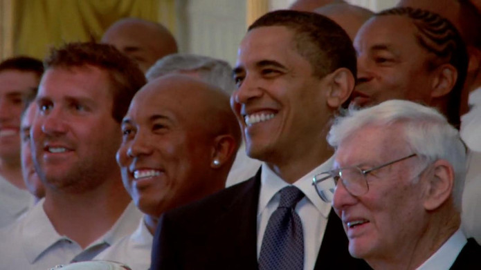 Dan Rooney and the Pittsburgh Steelers with Barack Obama