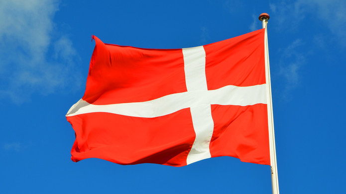 Denmark Flag Against Blue Sky