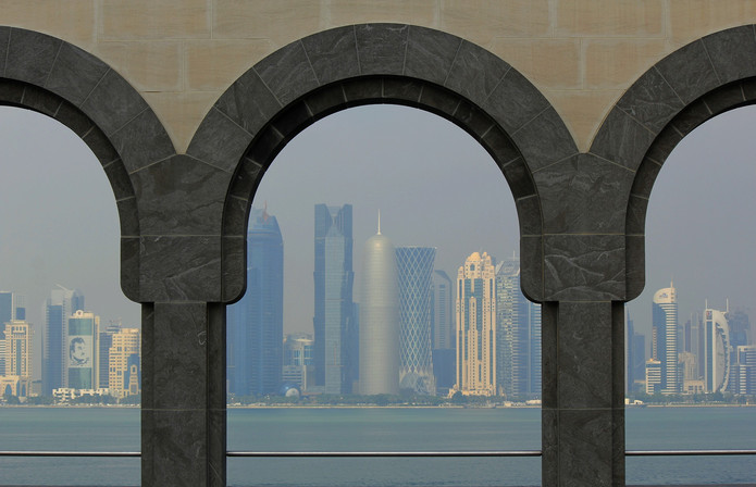Dohan Skyline Viewed Through Arch