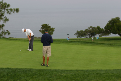 Dustin Johnson Practising Putting on Golf Green