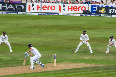 England Cricket Player Edging Shot Against India