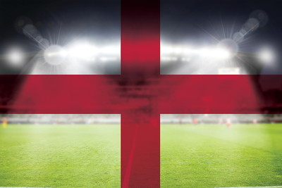 England Flag Against Floodlit Stadium