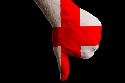 England Flag Hand Thumbs Down