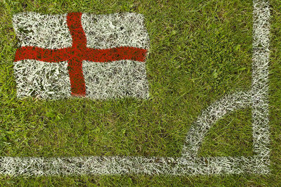 England Flag Painted in Football Pitch Corner