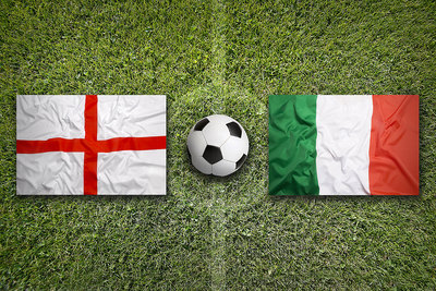 England and Italy Flags on Football Pitch