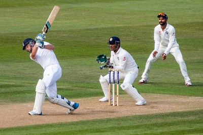 England Batsman Playing Shot Against India During Cricket Match