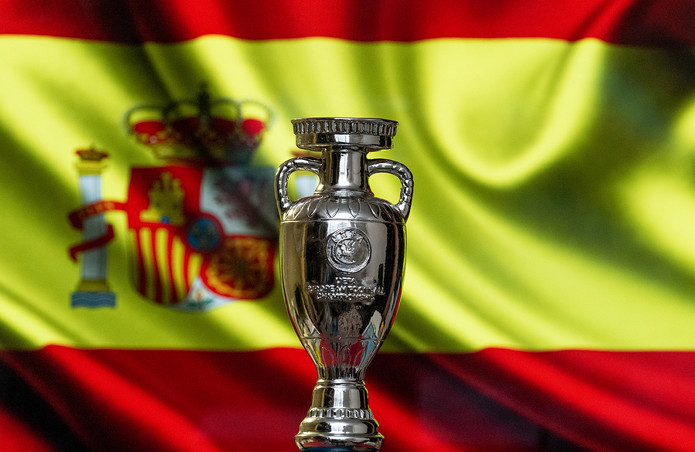 Europeam Championship Cup With Spainish Flag