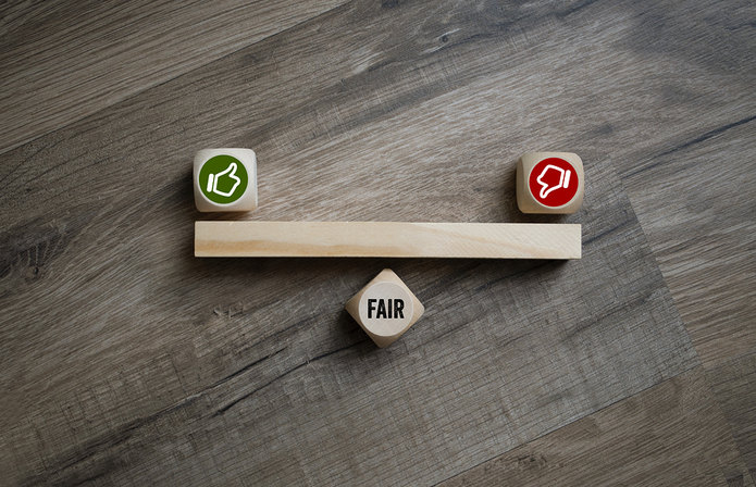 Fair Thumbs Up and Down Wooden Blocks