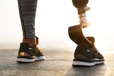 Feet of Athlete with Prosthetic Leg