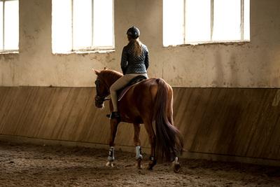 Female Jockey Riding in Manege