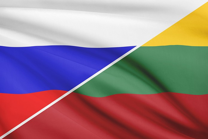 Flags of Russia and Lithuania