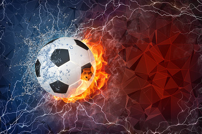 Football with Fire and Water and Electricity on a Blue and Red background