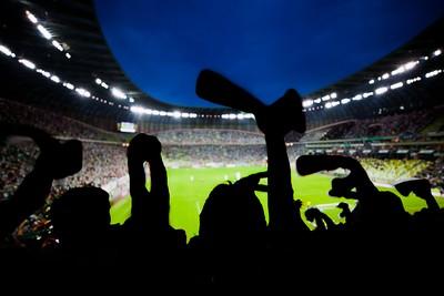 Football Fans in Stadium Silhouette