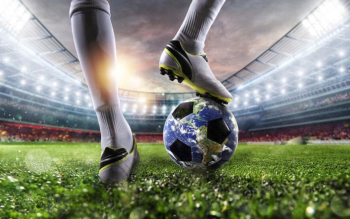 Football Player Standing on Earth Football