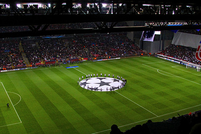 Football Stadium During Champions League Match