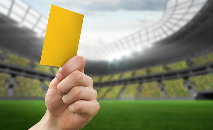 Football Yellow Card in Stadium