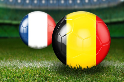 France and Belgium Football Flags