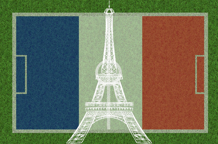 French Flag and Eiffel Tower on Football Pitch